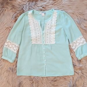 Forever 21 Mint Green Peasant Blouse